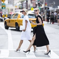A head-to-toe color choice is a strong style statement. #NYFW #StreetStyle #SS15