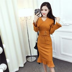 Lovely temperament fold long sleeved V neck dress