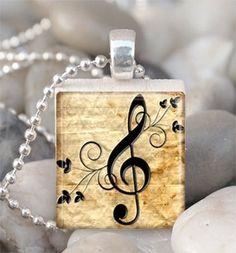 Scrabble tile music note pendant