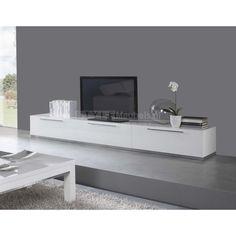 Tv meubel Carmen 300cm - Hoogglans Wit Living Tv, Living Spaces, Home Room Design, House Design, Tv Stand Modern Design, Tv Floor Stand, Modern Tv Units, Interior Architecture, Interior Design