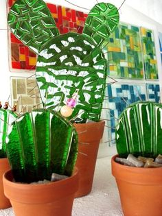Fused Glass Plates, Fused Glass Art, Mosaic Glass, Stained Glass, Glass Cactus, Paper Plants, Kiln Formed Glass, Cactus Y Suculentas, Glass Flowers