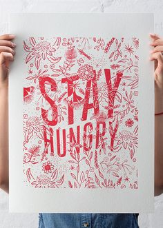 Image of Stay Hungry Letterpress Print
