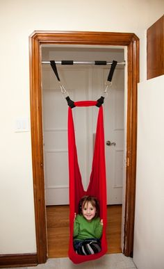 This spring loaded doorway mount for swings may just be the way I convince my hubs to get a swing for our house. Your kiddo doesn't need therapy to enjoy this awesome swing. Holds ~150 lbs
