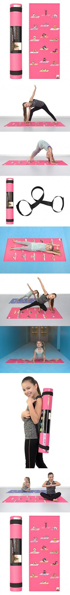 POETRYOGA - Kids Yoga Mat - with Carry Strap - 60x24 Inches 4mm - Eco-Friendly SGS Approved Non-Toxic No Phthalates or Latex - Durable - Non-Slip - Multi Purpose - Yoga Dogs Poses (Magenta)