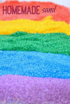 Make your own colored sand for arts, crafts, and play.  Only two common household ingredients needed; so easy and so much cheaper than the store bought stuff!