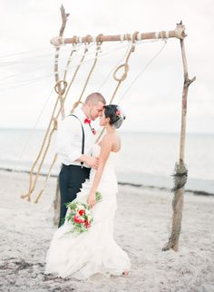 """""""tying the knot"""" backdrop for a nautical or beach wedding // photo by Michelle March event design by UnearthedVintage.com // Beach Seaside Outdoor Ocean Sand Nautical Wedding Ideas and Inspiration"""