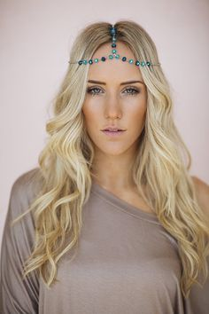 Crystal Beaded Headpiece, Bohemian Chain Headband, Adjustable Headpiece with Crystal Beading and Lobster Clasp in Teal (HB-188)