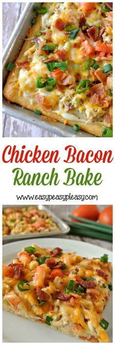 Chicken Bacon Ranch Bake is so easy with the help of a rotisserie chicken and a can of crescent rolls!