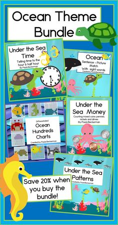 Oceans of learning fun: patterns, hundreds charts, money, time and sentence-picture matching activities, bundled for a 20% discount! TpT$