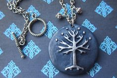 Tree of Gondor Royal Blue Clay Pendant by Middleearthgirls on Etsy, $35.00