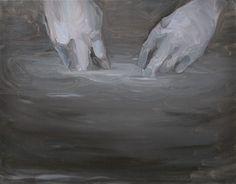 mani nell'acqua (hands in the water), 2013, oil on canvas, 55x70cm. Rudy Cremonini
