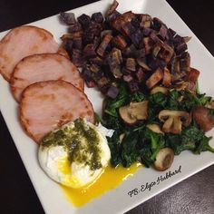 "✨Breakfast was super good-even though I had to reheat it lol.✨ My kids each had ""stop everything NOW issues"" right before I sat down to eat...funny how that happens right? Lol ✨Purple Okinawa sweet potatoes, spinach and mushrooms cooked in ghee, uncured Canadian bacon, and a poached egg topped with a little vegan pesto  https://www.facebook.com/TeamJERF"