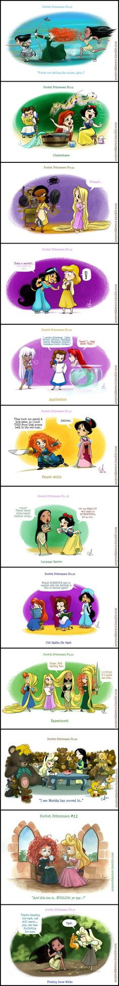 Pocket Princesses (Part 2) by Amy Mebberson Yeah I'm sure Mulan&Merida would hit it off just fine!