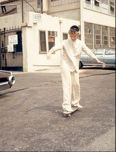 Katharine Hepburn shows off her skateboarding skills.
