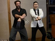 """Slicing gangnam style!! Psy teaches Hugh """"Wolverine"""" Jackman how to do his signature dance!"""