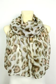 Unique Leopard Scarf - Printed Fabric Scarf - Animal Print Scarf - Brown Leopard Scarf - Women Fashion Accessories - Boho Gift Ideas for her