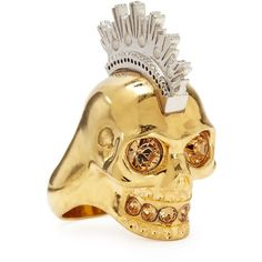 Alexander McQueen Two-Tone Punk Skull Ring ($350) ❤ liked on Polyvore featuring jewelry, rings, gold, druzy jewelry, druzy ring, punk rings, drusy ring and punk rock jewelry