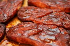 Smoked pork steaks - A St. Louis treat! What's a pork steak, you say?  A pork butt cut in steaks.  With some rub and sauce, anyone can do these.