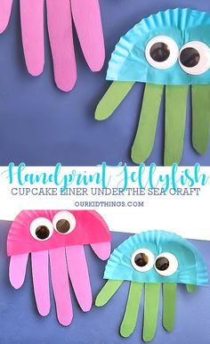 Cupcake Liner Handprint Jellyfish Craft #underthesea #oceancraft #summer #handprintcraft #kidscraft