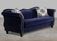 Furniture of America Zaffiro Sofa Couch w/ Nailhead Trim - Royal Blue Sectional Sofa With Recliner, Sofa Couch, Couch Set, Sofa Sleeper, Living Room Sofa, Living Room Furniture, Home Furniture, Metal Furniture, Furniture Stores