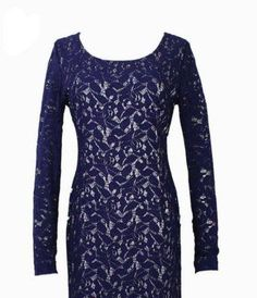 Royalty-Inspired Dark Navy Blue Full Lace Dress-Long Sleeve - 1