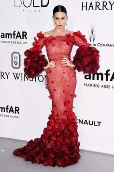 Katy Perry at Gala AmfAR at Cannes 2016 wearing Marchesa AW16 - Gala contra el sida