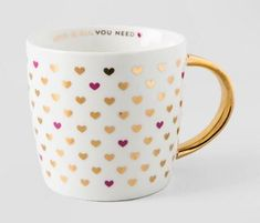 For the girly gal in your life - Gold Love Is All You Need - 14 oz heart ceramic mug Cute Coffee Mugs, Cool Mugs, Coffee Love, Tea Mugs, Coffee Cups, Cute Cups, Mug Cup, Tea Set, Tea Party