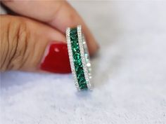 Treated Emerald Ring/ Full Eternity 2.36ct Princess by LoveGemArts #bisuteria #bisuteriacolombia #bisuterias #bisuteriafina #colombia