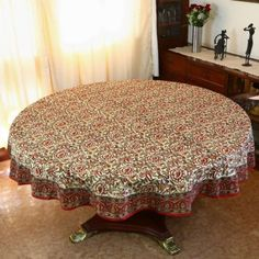 Spring Tablecloth Round 177 Indian Decorations Floral Cotton: Amazon.co.uk: Kitchen & Home