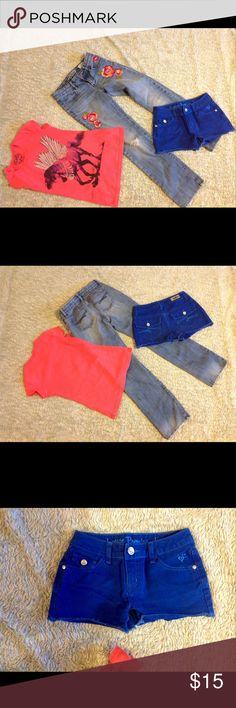 3 Pc New Justice Shorts-Gap Jeans & Top Sz 10 Gap Jeans Sz 10 regular straight leg-great Condition. New Justice blue Shorts Sz 10 Regular. Horse Top with embellished wings great condition Gap & Justice Other