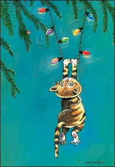 Christmas Card 73492 - Hang in there and have a Merry… Noel Christmas, Vintage Christmas Cards, Christmas Cats, Christmas Pictures, Vintage Cards, Christmas Humor, Winter Christmas, Christmas Comics, Illustration Noel