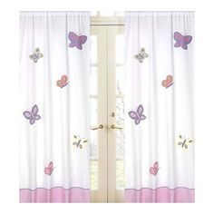 Create a stylish look with these pink and purple butterfly window panels. Pair with coordinating Sweet JoJo Designs children's bedding sets to help complete the look and feel of the bedroom theme for Cotton Curtains, Floral Curtains, Drapes Curtains, Purple Curtains, Printed Curtains, Curtains Living, Shower Curtains, Purple Butterfly, Pink Purple