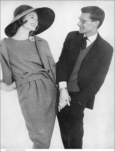 Suzy Parker with Yves Saint Laurent (Dior's 23 year-old heir), is wearing his gray and white check wool sleeveless dress with deliberately narrow cut jacket, photo by Richard Avedon, Harper's Bazaar, March 1959 Vintage Ysl, Vintage Couture, Vintage Vogue, Vintage Glamour, Vintage Style, Retro Outfits, Vintage Outfits, Yves Saint Laurent, Suzy Parker