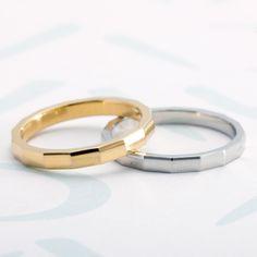 """カットされた面がきらきらと輝くマリッジリング""""ブライト"""" Couple Jewelry, Couple Rings, Bridal Rings, Wedding Rings, Dainty Gold Rings, Minimal Jewelry, Platinum Ring, Pandora, Jewelry Rings"""