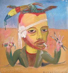 """""""La locura de van Gogh"""", acrylic on canvas, 22 x 21 cm.  . By Diego Manuel"""