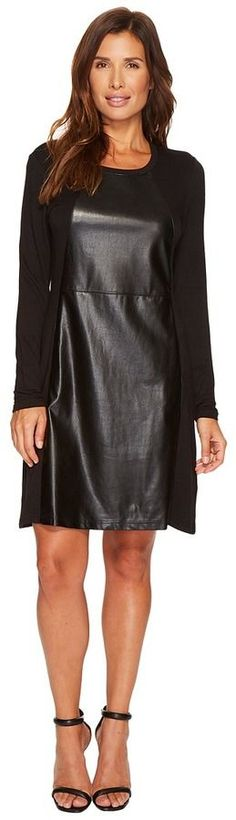 Tribal Crew Neck Dress w/ Pockets and Faux Leather Detail Women's Dress