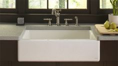 With its strong silhouette and wide basin, the Dickinson farmhouse-style sink offers a simple, functional alternative to larger double-bowl sinks. Crafted from enameled cast iron, this sink resists chipping, cracking, or burning for years of beauty and reliable performance.