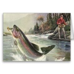 Vintage Rainbow Trout Fish Fisherman Fishing Poster: Vintage illustration sports design featuring a fisherman fishing and catching a rainbow trout fish in a river. Gone Fishing, Best Fishing, Fishing Tips, Fishing Videos, Fishing Tackle, Trout Fishing, Fishing Lures, Fishing Hole, Fish Drawings