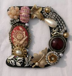 Jeweled Letter D Initial by Ryoan on Etsy, $22.50 - great idea for recycling old jewelry pieces!