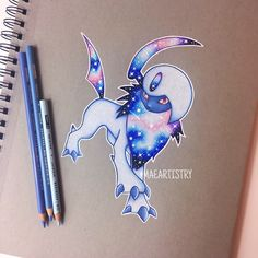 Hey friends! Here's Absol!  Btw, I used a reference photo to help me sketch out Absol haha.  ________ ‣ instagram.com/maeartistry ‣ facebook.com/marilynmaeart ‣ twitter.com/maeartistry