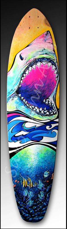 I like the use of bright, saturated colors here. I like that some liberties were taken with regard to the rendering of the shark in all kinds of unexpected green and pink hues. The bottom half of the board depicts a completely different artistic style and is rendered more realistically. Still, there are bright greens in the water that relate back to the greens found on the shark's body.