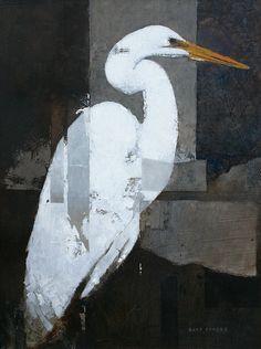 Egret - Bart Forbes - oil on panel