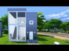 The Sims 4 - House build: Modern starter house w/ loft - YouTube Sims 4 House Building, Sims 4 Houses, Starter Home, Loft, Windows, Mansions, House Styles, Videos, Modern