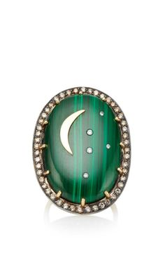 Shop Oval Malachite Ring With Crescent Moon. This ring by **Andrea Fohrman** featuresa a smooth malacite stone encrusted with a magical champagne diamond luna formation. Jewelry Box, Jewelery, Jewelry Necklaces, Malachite Jewelry, Celestial, Love Ring, Stars And Moon, Jewelry Collection, Gemstone Rings