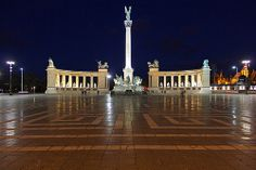 Heroes' Square - the Millennium Memorial at night  -Budapest, Hungary