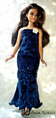 Handmade Curvy Barbie Doll Dress - Blue Velvet Dress for Plus-Sized Barbie 2ab3bfdc9