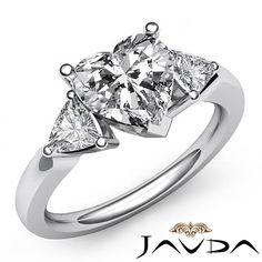 Exquisite 3 Stone Heart Diamond Engagement Ring EGL G SI1 14k White Gold 1 55 Ct | eBay