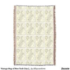 Vintage Map of New York City (1893) Throw Blanket