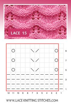 An easy lace pattern that you can knit feminine tops, breezy scarves or knitting lace afghans. Pattern includes written instructions and chart. Lace Knitting Stitches, Mitten Gloves, Chart, Pattern, Socks, Easy, Lace Knitting, Point Lace, Knitting