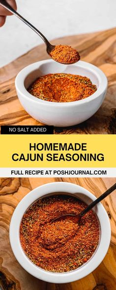 Looking for seasoning or spice mix with no salt? Try this homemade spicy cajun seasoning recipe! It's a versatile spice blend! # Homemade Seasonings, Homemade Sauce, Homemade Pasta, Cajun Spice Recipe, Cajun Seasoning Recipe, Easy Appetizer Recipes, Yummy Appetizers, Best Breakfast Recipes, Brunch Recipes